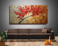 زهر الكرز الفني جدار زهرة المشهد اليدوية النفط الطلاء على قماش لوحة سكين الحديثة اللوحة ديكور المنزل جدار الفن ، DH01