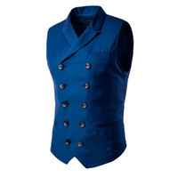 Moda Slim Fit Hombres de doble botonadura Chaleco de traje Chaqueta formal de negocios Chaleco sin mangas Negro Azul M-3XL