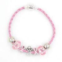 Frete Grátis Mais Novo Consciência Do Cancro Da Mama Europeu Bead Anjo Beads Pink Ribbon Pulseiras Pulseiras de Câncer de Mama