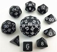 10шт черный цифровой кости набор с мешком TG высокое качество d4, d6, d8, 2xd10, d12,, d20, d24,d30, D60 dnd RPG играть в игры большие кости игрушки