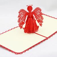 Qubiclife bênção cartão de aniversário anjo 3D estéreo amor feriado dom idéias 2015 3D cartão feito à mão 3D pop up presente saudação 3D bênção cartões Pap
