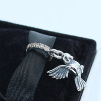 925 스털링 실버 비둘기 평화 매달려 펜던트 매력 구슬 Cz에 맞는 유럽 판도라 쥬얼리 팔찌 목걸이