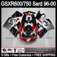 Красный серебро 8Gifts+ обтекатель для Suzuki GSXR600 GSXR750 SRAD 96-00 GSXR 600 750 GSX в r600 о MY8 750 рандов 96 97 98 99 00 1996 1997 1998 1999 2000 тело