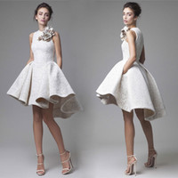2016 Krikor Jabotian High Low Prom Dresses Scollo a cuore A-Line Flower Appliqued Party Dress Brevi abiti da sera in pizzo