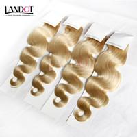 Pelo brasileño de la onda del cuerpo Grado 8A color # 613 Bleach rubio armadura de cabello humano paquetes de extensiones de cabello brasileño 3 / 4Pcs 12-30 pulgadas tramas dobles
