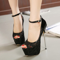 16cm Sexy platform shoes super high heel black white lace we...