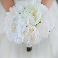 Jane Vini 2018 Zarif Fildişi Şakayık Düğün Çiçekleri Gelin Buketleri Gelin Buketi Tutan Broş Yapay Zarif Düğün Dekorasyon
