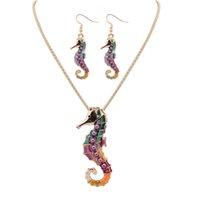 НОВЫЙ свободный стиль 18 КГП / 925 серебро Капельное Радужный Морской конек с фиолетовым жемчугом комплект ювелирных изделий сплава ожерелье серьги аксессуары для женщин