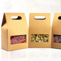 DHL 150Pcs/Lot 10.5*15+6cm Kraft Paper Tote Bag Wedding Favor Candy Gift Packing Box With Handle Clear Square Window Chocolate Packaging