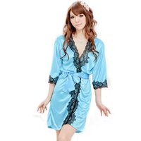 20151205 2Pcs Sexy Lingerie hot blue robe dress+ g string set...