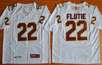 Vintage Mens Doug Flutie 22 Fenway Etkinlik Otantik Performans Koleji Futbol Formaları Doug Flutie Beyaz Dikişli Jersey
