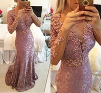 2016 Haut Rosa Lace Sheer Backless Prom Kleider Perlen Sweep Zug Meerjungfrau Embroderiy Abendkleider