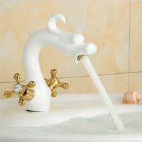 White Painted Dragon taps Bathroom Basin Brass taps Double H...