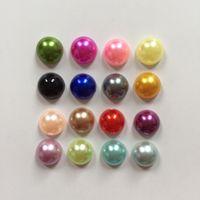 La mitad de plástico planas grano de la perla Flatback Volver libro de recuerdos / 8mm regalos de la mezcla del color de bricolaje decoración de la boda -B02A