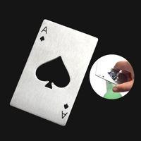 Abridor de garrafas de cerveja de aço inoxidável pás uma carteira de ferramenta de bar de forma de cartão de pôquer fácil de transportar cor prata