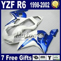 Failes de envío gratuitos establecidos para Yamaha yzf-R6 1998-2002 YZF 600 yzfr6 98 99 00 01 02 Kits de cuerpo de carenado blanco azul VB92