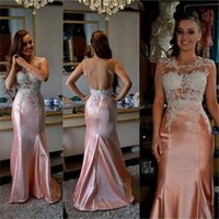 2016 mode Mädchen Festzug Kleider Jewel Neck Flügelärmeln Appliques Pailletten Backless Satin Rosa Meerjungfrau Besondere Anlässe Abendkleid Party