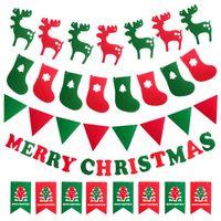 Navio DHL Decorações de Natal Elk Rena Meias Bandeira Árvore Bandeiras Penduradas Enfeites De Festa Janela Interior Suprimentos HH7-254