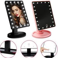 Pantalla táctil de rotación de 360 grados Make Up Mirror Cosmetic Portable Portable Pocket Pocket con 16/22 LED Lights Makeup Herramienta