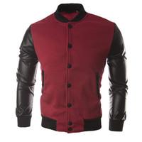 Otoño-Venta caliente Suéter Hombres Bomber Chaqueta Personalizada Costura de Béisbol Ropa Hip Hop Hippie de cuero jaquetas chaqueta hombre