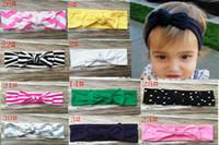 20pcs Cotton baby big bow Turban Twist Headband Head Wrap Twisted Knot Soft stripe Hairband chevron Headband golden Wave dot HeadWrap FD6574