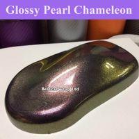 Premium Gloss Metálico Roxo a Dourado Flip Glitter Vinyl - Filme Wrap Car com bolha de ar livre Chameleon cobrindo folha de tamanho 1.52x20m / Roll