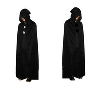 2015 HOT Halloween Costume Theatre Prop Death Hood Cloak Devil Long Tippet Cape Black Free FedEx DHL