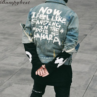 Atacado-Jeans Jacket Mens jaquetas e casacos Denim Jacket Mens Hole Clothes Cotton Jeans Jacket