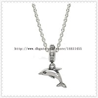 High-quality 925 Sterling Silver Chain Drop Pendant Necklace for European Pandora Style Charms and Beads Pendants-Playful Dolphin Dangle