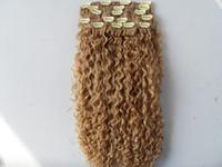 mongolian grampo de cabelo encaracolado de trama na onda Kinky naturais tece não transformados Remy virgem extensões humanos loira
