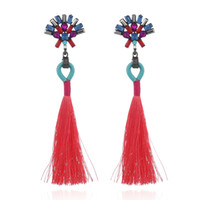 New Design Multi Rhinestone Long Tassel Earrings Fashion Bri...