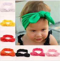 16pcs выходных акций аксессуара для волос Blended хлопковой ткани младенца Голова обертки девушка Bow кроличьих ушек на продажу оголовье цветок Hairband FD6543