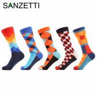 Wholesale- SANZETTI 5 pair/lot Men's Funny happy Socks Argyle Combed Cotton Socks Colorful stripe Grid Tube geometric Long Socks