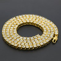 Mens hip hop jewelry single row of rhinestones chains Europe...