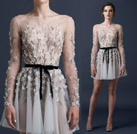 Paolo Sebastian Short Party Dresses Beading Sequined Appliques Flores Ruched Prom Dresses 2015 Long Sleeve Sheer Sexy Dresses Party Evening