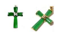 Mooie groene jade cross hanger en ketting + ketting