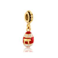 Fábrica de Shenzhen esmaltado pingente de ovo Faberge oscilante metal talão de deslizamento europeu espaçador charme fit Pandora Chamilia Biagi charme pulseira
