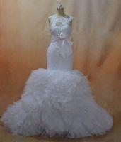 Русалка свадебные платья 2016 Sheer экипажа декольте и замочную скважину назад органза часовня поезд свадебные платья реальные изображения, вдохновленные дизайнерские платья