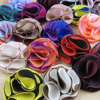 도매 - 패션 5CM 남성 clucth 핀 패브릭 꽃 브로치 핀 24pcs / lot 21color 선택 무료 배송