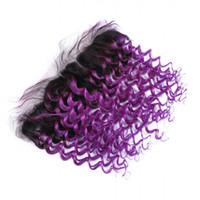 Ombre Lila brasilianisches Menschenhaar 13x4 volle Spitze Frontal mit Baby-Haare-tiefer Wellen-1B / Lila Ombre Ohr zu Ohr Lace Frontal Closure