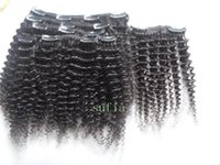 Mongolian virgin hair kinky curly clip in human extensins un...