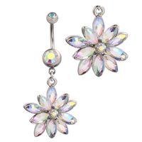 2015 hot reversa barriga anéis balançar umbigo claro bar flor oscila jóia do corpo piercings cristais