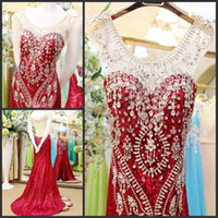 2015 Top Fashion Red Celebrity Dresses With Scoop Neck BeadingMermaid Fashion Evening Dress Sheer Back Prom Gowns Vestidos