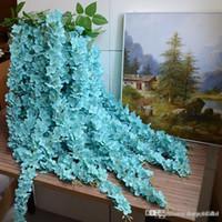 2015新しい1.6メートル長いエレガントな人工シルクの花藤の谷間の藤の装飾の装飾花束ガーランドホームorname