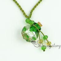 diffuseur d'huile essentielle collier vide petit verre flacon collier pendentifs gros fournisseur italien bijoux feuille de verre de murano