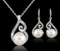 2016 Date Femmes Cristal Perle Pendentif Collier Boucle D'oreille Bijoux Ensemble 925 Argent Chaîne Collier Bijoux 12 pcs Vente