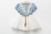 1pcs Retal Sale 새로운 어린이 의류 좋은 품질의 데님 넷넷 원사 소녀 달콤한 드레스와 벨트 짧은 소매 아기 아이의 공주 드레스 GX65