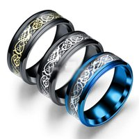 8mm Dragon 316L Stainless Steel Rings Black Hollow Blue Wedd...