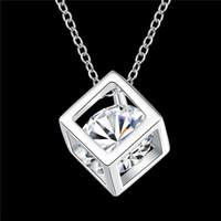 925 sterling silver square pingente de colar com zircão delicado belo presente de aniversário de alta qualidade frete grátis