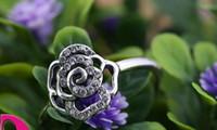 RoseSilver Rring Con Cubic Zirconia Auténticos 925 anillos de plata esterlina Ajuste para pandora charms joyería de las mujeres DIY anillo de dedos moda 1 unids